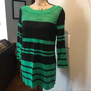 Green & black striped sweater